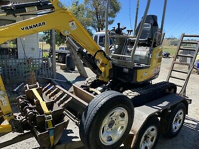 AU39900 • Buy Yanmar VIO17 Mini Excavator And Heavy Duty Trailer LOW HOURS With Auger Head