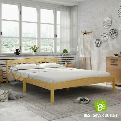 AU129.75 • Buy Oak Pine Wooden Bed Frame Double Bedroom Mattress Base Timber Furniture