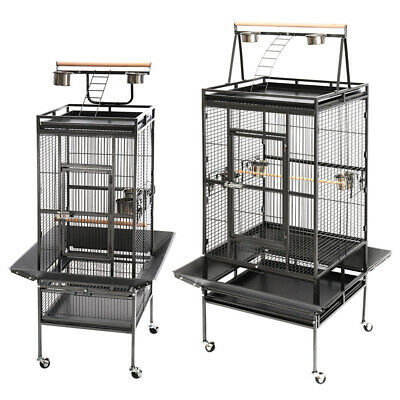 Large Rolling Metal Birds Cage With Stand Perches Play Top Aviary Parrot Budgie • 109.95£