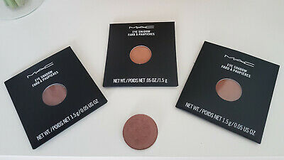 4 X MAC Eyeshadows Refill Pan Shades: Swiss Chocolate, Soft Brown, Saddle, Sable • 19.99£