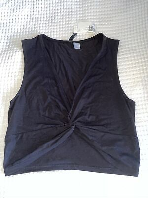 H&M Black Cropped Knot Tie Front Top NWT Medium • 3£