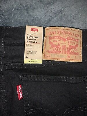 Levi's 519 Skinny Fit Jeans Black Denim Mens W34 L32 New With Tags • 35£