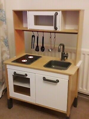 Ikea DUKTIG Wooden Working Play Kitchen And Utensils Excellent Used Condition • 36.99£