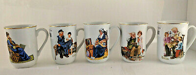 $ CDN25.19 • Buy Vintage Norman Rockwell Museum Coffee Mugs ~ Set Of 5 ~ 1982 ~ Gold Trim