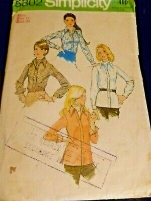 Vintage Simplicity Ladies Shirt And Tie Sewing Pattern Size 12 Used And Complete • 0.99£