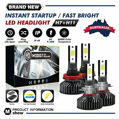 AU36.89 • Buy 2 Pairs H7+H8/H9/H11 LED Headlight Kit 490W 60000LM Driving Lamp Globes White
