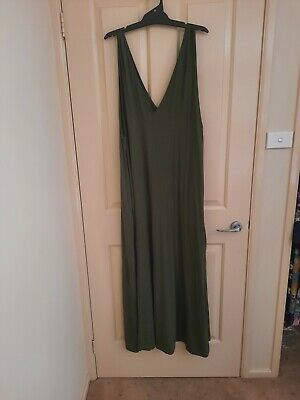 AU15 • Buy ASOS Khaki Green Maxi Dress UK Size 20