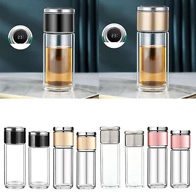 Double Wall Glass Water Bottle Tea Infuser Bottle With Tea Infuser Portable • 13.81£