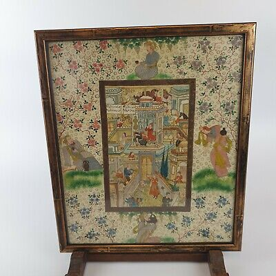 $ CDN261.25 • Buy Antique / Vintage Fine Middle Eastern Painting Of A Busy Town Qajar Style