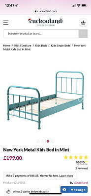 Metal Turquoise Single Bed Frame With Ikea Hovag Matress • 130£