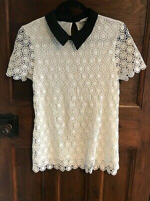 Oasis White Lace Top With Black Collar Small • 3.80£