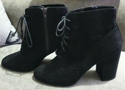 NEW LOOK/Black Faux Suede Lace-up Wide Fit Ankle Shoe Boots - Size 8 • 10£