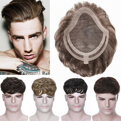 £33.10 • Buy Mens Human Hair Replacement System Injected Skin Toupee Remy Hair Piece PU LACE