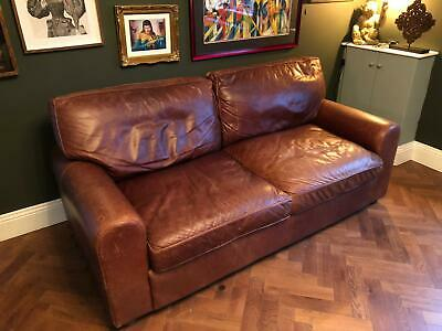 £400 • Buy John Lewis Brown Leather Sofas Well Worn Antique Soft Patina Rrp £3000+