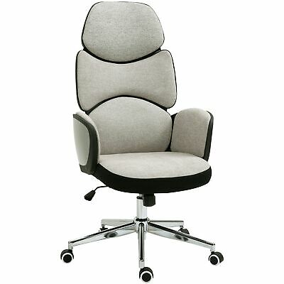 AU357.44 • Buy Grey Office Chair Adjustable Height Swivel Linen Work Seat Chrome Base W/ Wheels
