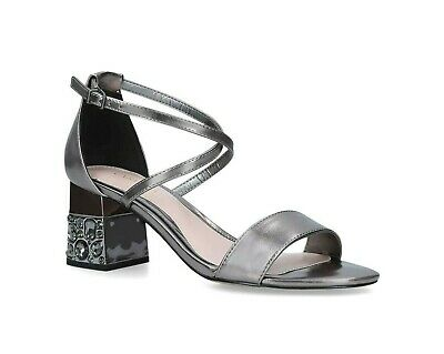 Kurt Geiger Carvela Block Heeled Shoes Ankle Strap Pewter Sandals Size 4 RRP £79 • 29.95£