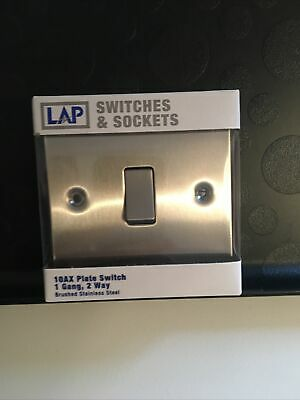 LAP 10AX 1-GANG 2-WAY LIGHT SWITCH BRUSHED STAINLESS Steel • 4£