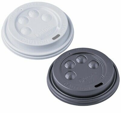 8oz Domed Sip Thru Button Cup Drinking Lids Tea Coffee Hot Drinks Black White UK • 5.99£