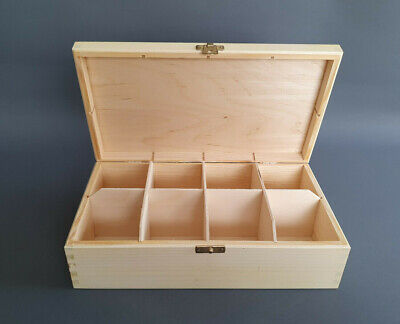 Wooden White Handmade Storage Box Organizer 8 Removable Compartments Jewellery • 4.28£