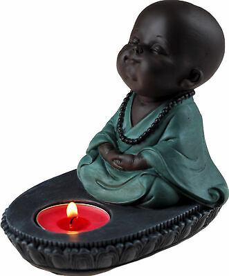 £11.99 • Buy Brown & Turquoise Baby Buddha Single Tea Light Candle Holder Ornament