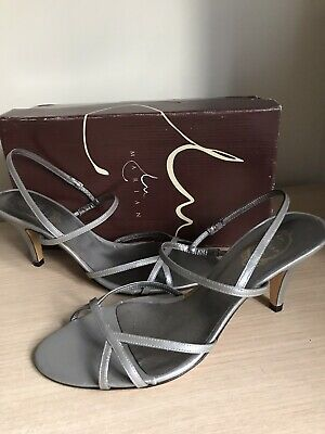 Silver  Pewter Leather Strappy Shoe Sandal Heels Size UK8 EU41 By Marian Spain • 3.99£