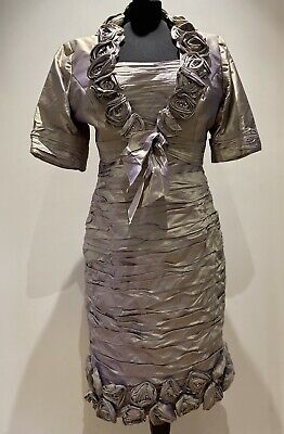 Ian Stewart ISL264 Special Occasion Dress Pearlescent Gold Lilac Size 16  18 New • 249£