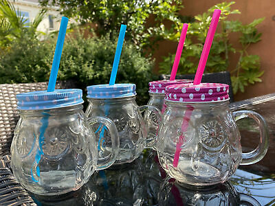 Set Of 4 Glass Owl Design Mason Jar Cups With Lid And Reusable Straws • 9.99£
