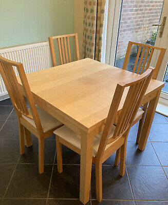 Preloved Ikea Oak Veneer Extendable Dining Table & 4 X Chairs  • 60£