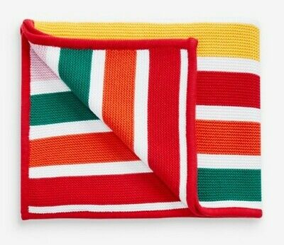 BNWT NEXT Stripe Knit Baby Blanket Bright Rainbow Unisex Newborn Gift 1m X 60cm • 7£
