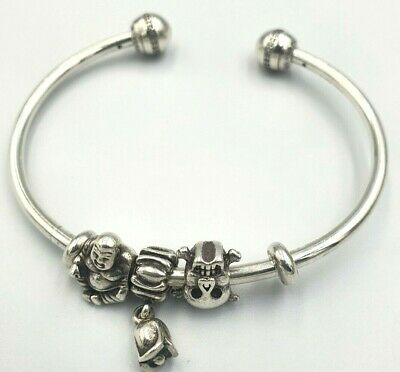 AU33 • Buy Genuine Pandora Ladies Silver Moments Open Bangle With 3x Charms ALE 925
