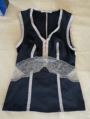 AU49 • Buy Scanlan & Theodore, Black Lace Silk & Spandex Top, Size 8.