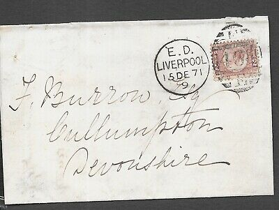 LANCASHIRE 1871 PART ENTIRE ½d ROSE PLATE 6 ED/LIVERPOOL/E 4664 E DUPLEX  • 9.99£
