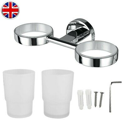 2pcs Chrome Toothbrush Tumbler Holder With Glass Cup Bathroom Wall Accessory UK • 9.35£
