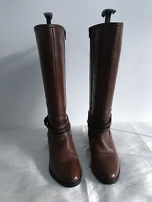 Pavers Ladies Tan Brown Leather Knee High Boots Size 5 • 10£