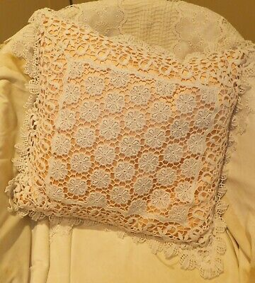 Macrame Lace Cushion With Peach Satin Under Cover, Manfactured In Nottingham Lac • 13.99£