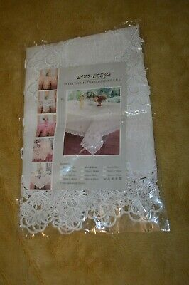 White Square Table Cloth With Lace Edge, Satin Like Fabric, 85 Cm X 85 Cm • 5.99£