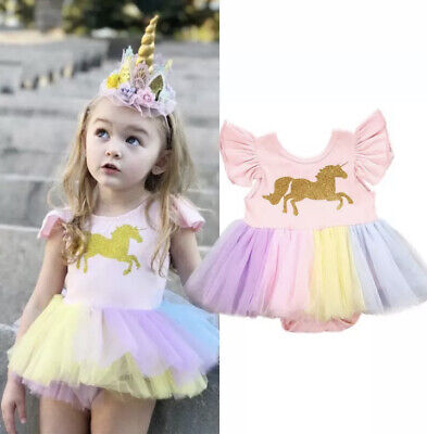 Baby Girl Infant Toddler Unicorn Rainbow Tutu Tulle Striped Clothes Romper Dress • 8.99£