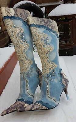 Rare! 100% Leather Lace Faded  Denim Blue Western   Boots Faithsolo By El Dantee • 63.50£