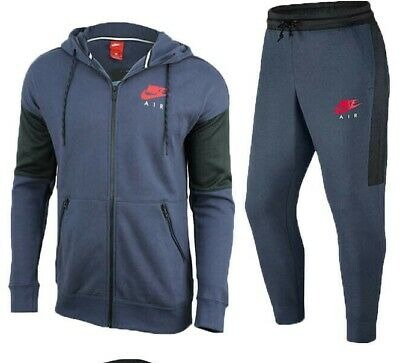 Nike Air Mens Fleece Tracksuit Full Set Navy Hoodie Joggers Track Bottoms New • 39.99£