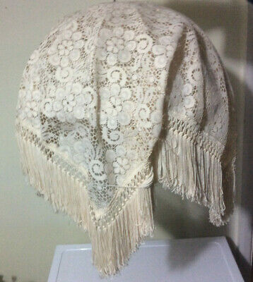 Vintage Cream Lace Fabric Ceiling Lampshade, Traditional, Shabby Chic, Romantic • 39.99£