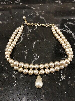 Costume Jewellery Classic 2 Strand Faux Pearl Bead Choker Necklace Hook Fastener • 5.50£