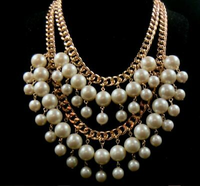 Faux Pearl Multi Layer Necklace Ladies Statement Bib Beaded Bridal Accessories • 4.20£
