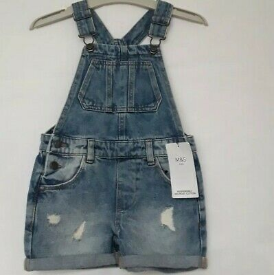 Girl's Age 3-4yrs Denim Short Dungarees M&S New  • 9.50£