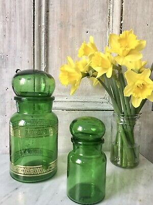 Pair Of Belgian Vintage Green Gold Glass Apothecary Jars Bottles With Lids 1970s • 25£