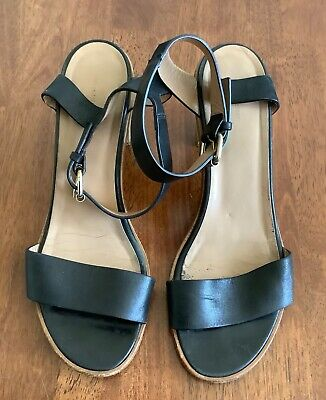 AU33.15 • Buy Scanlan Theodore Black Leather Strappy Sandal Wooden Heel, Size 40