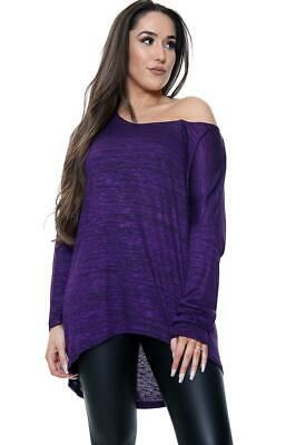 Womens Oversized Knitted Off The Shoulder Bardot Dipped Hem Hi Lo Top Plus Size • 5.99£