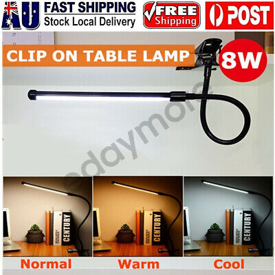 AU21.68 • Buy Clip-On Table Desk Lamp Bedside USB Dimmable Switch Night Reading LED Light AU