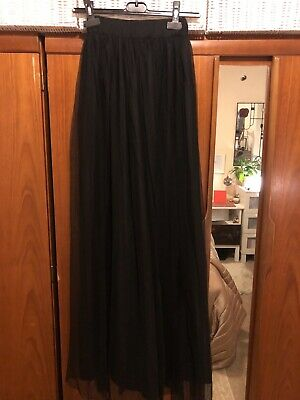 Long Net Black Skirt Size S Perfect Condition • 8£