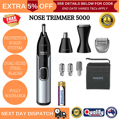 AU55.20 • Buy Philips Norelco Nose Trimmer 5000 Mens Cordless Grooming Ear Eyebrow Hair Shaver