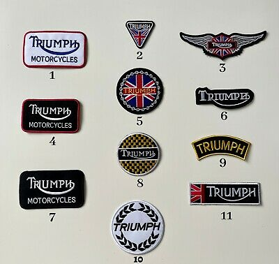 Triumph Motorcycles Biker Rocker Badges Iron Sew On Embroidered Patches • 1.99£